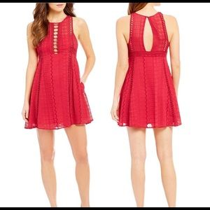 Free People Red Sleeveless Lace Dress